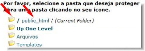 cpanel - selecione pasta