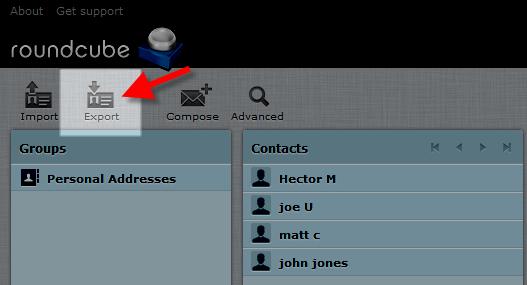 Roudcube exportar lista contactos