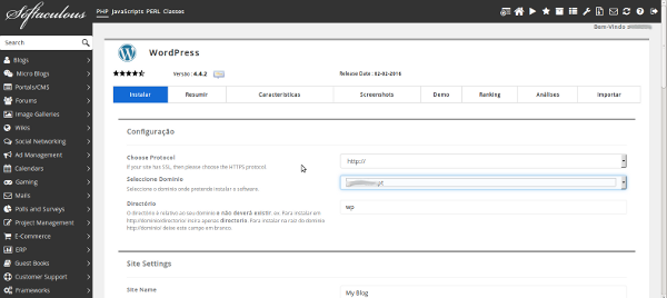Dados de instalação softaculous Wordpress