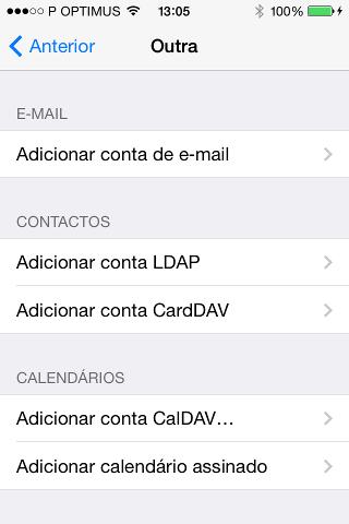 Adicionar conta de e-mail