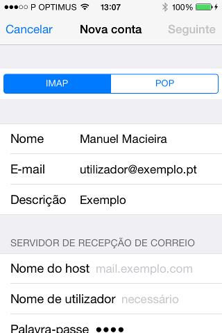 Selecionar IMAP