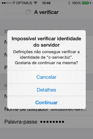 Impossível verificar identidade do servidor